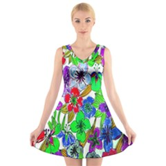 Background Of Hand Drawn Flowers With Green Hues V Neck Sleeveless Skater Dress