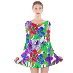 Background Of Hand Drawn Flowers With Green Hues Long Sleeve Velvet Skater Dress