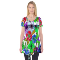 Background Of Hand Drawn Flowers With Green Hues Short Sleeve Tunic