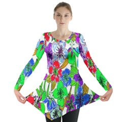 Background Of Hand Drawn Flowers With Green Hues Long Sleeve Tunic
