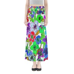 Background Of Hand Drawn Flowers With Green Hues Maxi Skirts
