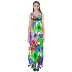 Background Of Hand Drawn Flowers With Green Hues Empire Waist Maxi Dress