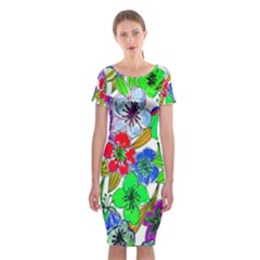 Background Of Hand Drawn Flowers With Green Hues Classic Short Sleeve Midi Dress
