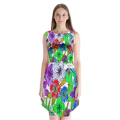 Background Of Hand Drawn Flowers With Green Hues Sleeveless Chiffon Dress