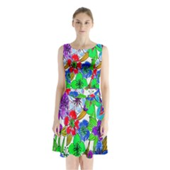 Background Of Hand Drawn Flowers With Green Hues Sleeveless Chiffon Waist Tie Dress
