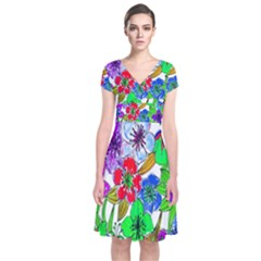 Background Of Hand Drawn Flowers With Green Hues Short Sleeve Front Wrap Dress