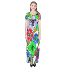 Background Of Hand Drawn Flowers With Green Hues Short Sleeve Maxi Dress
