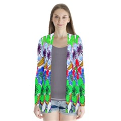 Background Of Hand Drawn Flowers With Green Hues Cardigans