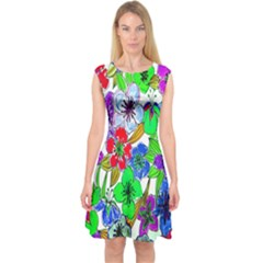 Background Of Hand Drawn Flowers With Green Hues Capsleeve Midi Dress