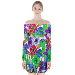 Background Of Hand Drawn Flowers With Green Hues Long Sleeve Off Shoulder Dress
