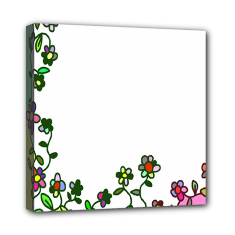 Floral Border Cartoon Flower Doodle Mini Canvas 8  x 8