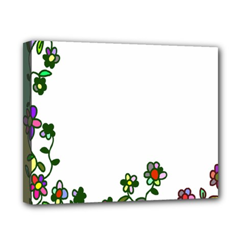 Floral Border Cartoon Flower Doodle Canvas 10  x 8