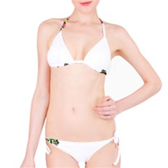 Floral Border Cartoon Flower Doodle Bikini Set
