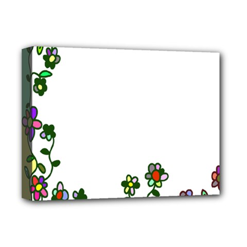 Floral Border Cartoon Flower Doodle Deluxe Canvas 16  x 12