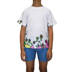 Floral Border Cartoon Flower Doodle Kids  Short Sleeve Swimwear