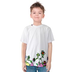 Floral Border Cartoon Flower Doodle Kids  Cotton Tee