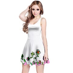Floral Border Cartoon Flower Doodle Reversible Sleeveless Dress