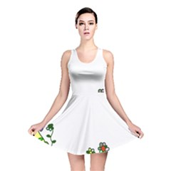Floral Border Cartoon Flower Doodle Reversible Skater Dress