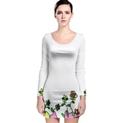 Floral Border Cartoon Flower Doodle Long Sleeve Bodycon Dress