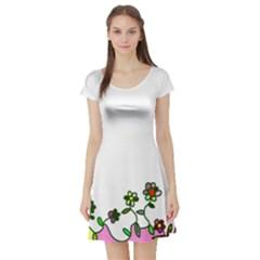Floral Border Cartoon Flower Doodle Short Sleeve Skater Dress