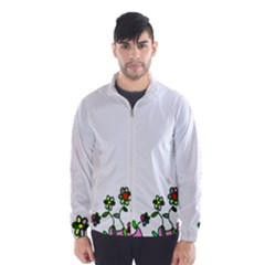 Floral Border Cartoon Flower Doodle Wind Breaker (men)