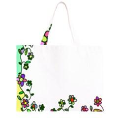 Floral Border Cartoon Flower Doodle Large Tote Bag