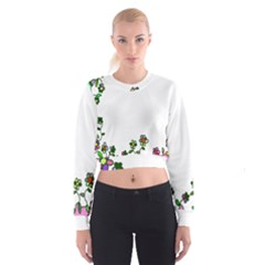 Floral Border Cartoon Flower Doodle Cropped Sweatshirt