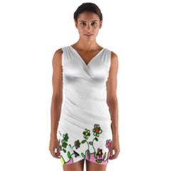 Floral Border Cartoon Flower Doodle Wrap Front Bodycon Dress