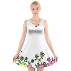 Floral Border Cartoon Flower Doodle V-Neck Sleeveless Skater Dress