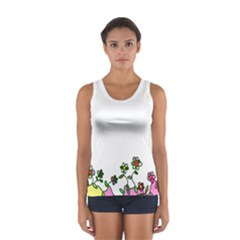 Floral Border Cartoon Flower Doodle Women s Sport Tank Top