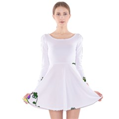 Floral Border Cartoon Flower Doodle Long Sleeve Velvet Skater Dress