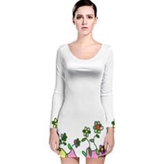 Floral Border Cartoon Flower Doodle Long Sleeve Velvet Bodycon Dress