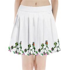 Floral Border Cartoon Flower Doodle Pleated Mini Skirt