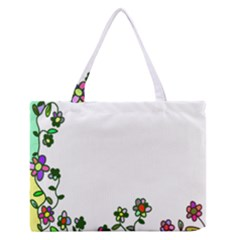 Floral Border Cartoon Flower Doodle Medium Zipper Tote Bag
