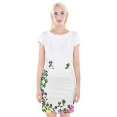 Floral Border Cartoon Flower Doodle Suspender Skirt