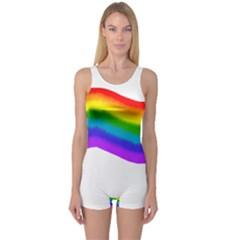 Watercolour Rainbow Colours One Piece Boyleg Swimsuit