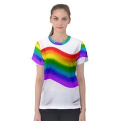 Watercolour Rainbow Colours Women s Sport Mesh Tee