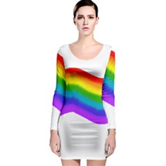 Watercolour Rainbow Colours Long Sleeve Bodycon Dress