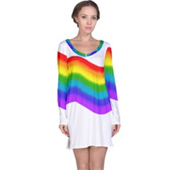 Watercolour Rainbow Colours Long Sleeve Nightdress
