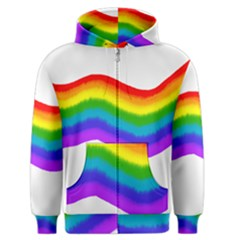 Watercolour Rainbow Colours Men s Zipper Hoodie