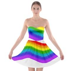 Watercolour Rainbow Colours Strapless Bra Top Dress