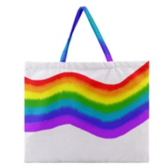 Watercolour Rainbow Colours Zipper Large Tote Bag