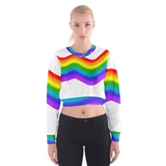 Watercolour Rainbow Colours Cropped Sweatshirt