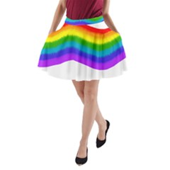Watercolour Rainbow Colours A-Line Pocket Skirt