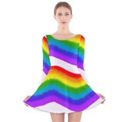 Watercolour Rainbow Colours Long Sleeve Velvet Skater Dress