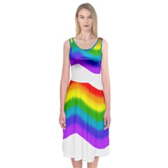 Watercolour Rainbow Colours Midi Sleeveless Dress