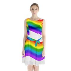 Watercolour Rainbow Colours Sleeveless Chiffon Waist Tie Dress