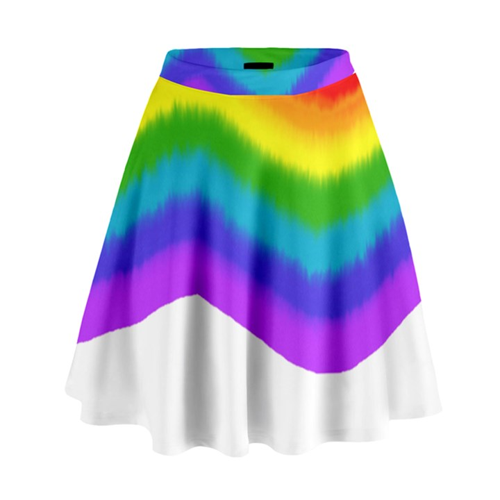 Watercolour Rainbow Colours High Waist Skirt