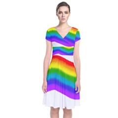 Watercolour Rainbow Colours Short Sleeve Front Wrap Dress
