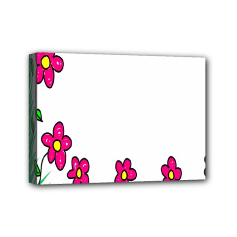 Floral Doodle Flower Border Cartoon Mini Canvas 7  x 5